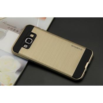 Двухкомпонентный силиконовый антиударный чехол с поликарбонатными вставками текстура Металл для Samsung Galaxy A8