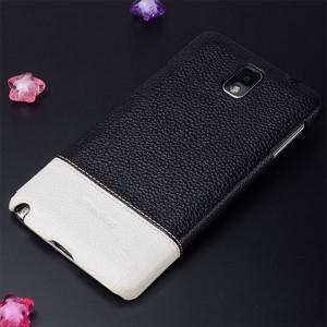 Кожаный чехол накладка двухцветная для Samsung Galaxy Note 3 Черный