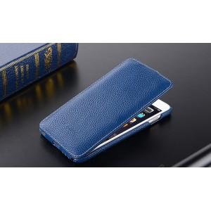 Кожаный чехол вертикальная книжка с защёлкой для Iphone 6 Plus/6s Plus Синий