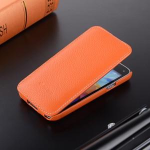 Кожаный чехол вертикальная книжка с защёлкой для Samsung Galaxy S5 Mini Оранжевый