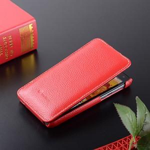 Кожаный чехол вертикальная книжка с защёлкой для Lenovo S660 Красный