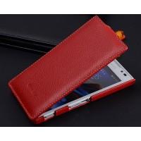 Кожаный чехол вертикальная книжка с защёлкой для Sony Xperia C Красный