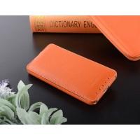 Кожаный чехол вертикальная книжка с защёлкой для HTC Desire 700 Оранжевый