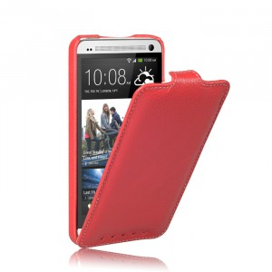 Кожаный чехол вертикальная книжка (нат. кожа) для HTC One (М7) Dual SIM Красный