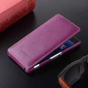 Кожаный чехол вертикальная книжка с защёлкой для Sony Xperia Z3 Фиолетовый