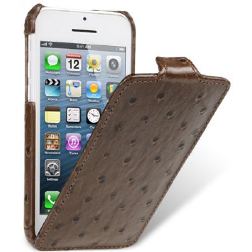 Кожаный чехол вертикальная книжка (кожа страуса) с защёлкой для Iphone 5c