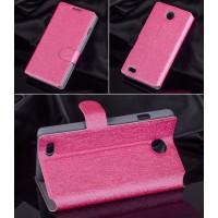 Текстурный чехол горизонтальная книжка подставка на пластиковой основе с магнитной застёжкой для MTS Smart Start Пурпурный