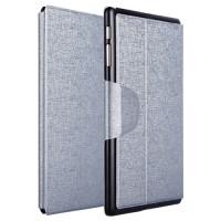 Чехол подставка на пластиковой основе со слотом для карт и застежкой текстурный Silk для Samsung Galaxy Tab S 10.5 Серый