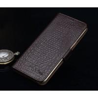 Кожаный чехол портмоне подставка (нат. кожа крокодила) для Lenovo Vibe P1 Коричневый