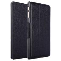 Чехол подставка на пластиковой основе со слотом для карт и застежкой текстурный Silk для Samsung Galaxy Tab S 10.5 Черный