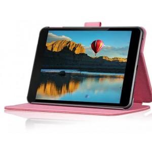 Чехол подставка текстурный с тиснением и магнитной застежкой на поликарбонатной основе для Nokia N1 Розовый