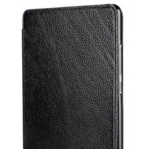 Кожаный чехол подставка на пластиковой основе для Nokia N1 Черный