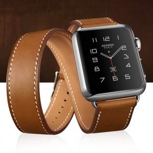 Кожаный прошитый удлиненный ремешок-браслет (нат. кожа) с металлическим коннектором и стальной пряжкой для Apple Watch 38мм
