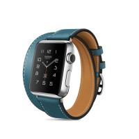 Кожаный прошитый удлиненный ремешок-браслет (нат. кожа) с металлическим коннектором и стальной пряжкой для Apple Watch 38мм Голубой