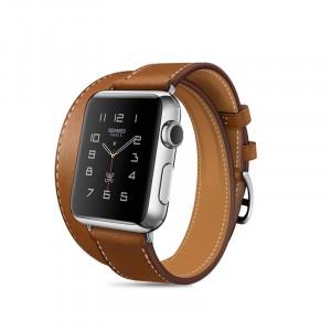 Кожаный прошитый удлиненный ремешок-браслет (нат. кожа) с металлическим коннектором и стальной пряжкой для Apple Watch 42мм Коричневый