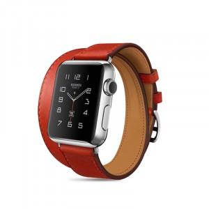 Кожаный прошитый удлиненный ремешок-браслет (нат. кожа) с металлическим коннектором и стальной пряжкой для Apple Watch 42мм Красный