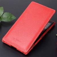 Кожаный чехол вертикальная книжка с защёлкой для Nokia Lumia 1520 Красный