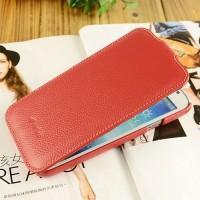 Кожаный чехол вертикальная книжка с защёлкой для Samsung Galaxy Mega 5.8 Красный