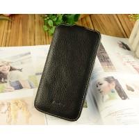 Кожаный чехол вертикальная книжка с защёлкой для Samsung Galaxy Mega 5.8 Черный