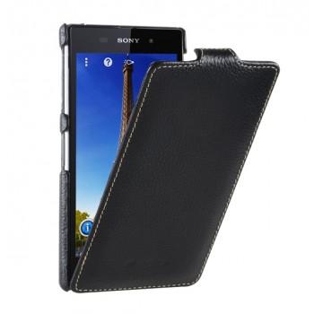 Кожаный чехол вертикальная книжка с защёлкой для Sony Xperia Z1
