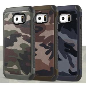 Двухкомпонентный чехол с силиконовой подложкой и поликарбонатной накладкой Камуфляж для Samsung Galaxy S6 Edge