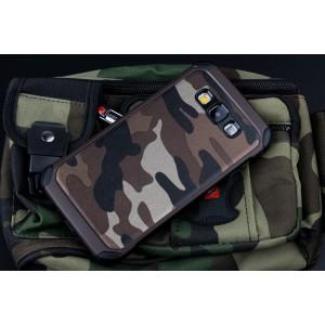 Двухкомпонентный чехол с силиконовой подложкой и поликарбонатной накладкой Камуфляж для Samsung Galaxy A8 Коричневый