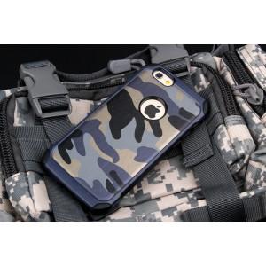 Двухкомпонентный чехол с силиконовой подложкой и поликарбонатной накладкой Камуфляж для Iphone 6/6s Синий