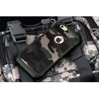 Двухкомпонентный чехол с силиконовой подложкой и поликарбонатной накладкой Камуфляж для Iphone 6/6s Зеленый