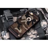 Двухкомпонентный чехол с силиконовой подложкой и поликарбонатной накладкой Камуфляж для Iphone 6/6s Коричневый