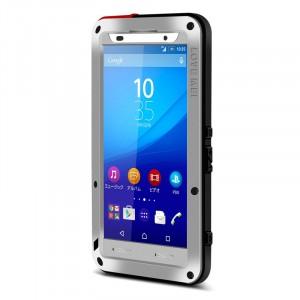 Антиударный пылевлагозащищенный гибридный премиум чехол силикон/металл/закаленное стекло для Sony Xperia Z3+ Серый