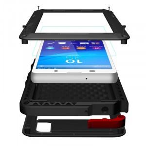 Антиударный пылевлагозащищенный гибридный премиум чехол силикон/металл/закаленное стекло для Sony Xperia Z3+ Черный