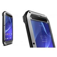 Антиударный пылевлагозащищенный гибридный премиум чехол силикон/металл/закаленное стекло для Sony Xperia T2 Ultra (Dual) Серый