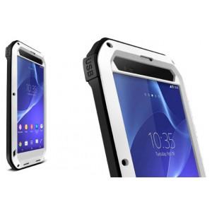 Антиударный пылевлагозащищенный гибридный премиум чехол силикон/металл/закаленное стекло для Sony Xperia T2 Ultra (Dual) Белый