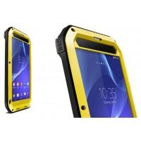 Антиударный пылевлагозащищенный гибридный премиум чехол силикон/металл/закаленное стекло для Sony Xperia T2 Ultra (Dual) Желтый