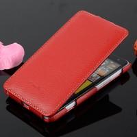 Кожаный чехол вертикальная книжка с защёлкой для Nokia Lumia 625 Красный