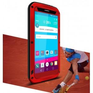 Антиударный пылевлагозащищенный гибридный премиум чехол силикон/металл/закаленное стекло для LG G4 Красный