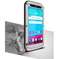 Антиударный пылевлагозащищенный гибридный премиум чехол силикон/металл/закаленное стекло для LG G4 Серый