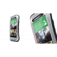 Антиударный пылевлагозащищенный гибридный эргономичный премиум чехол силикон/металл/закаленное стекло для HTC One (M8) Серый