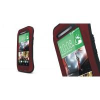 Антиударный пылевлагозащищенный гибридный эргономичный премиум чехол силикон/металл/закаленное стекло для HTC One (M8) Красный