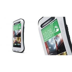 Антиударный пылевлагозащищенный гибридный эргономичный премиум чехол силикон/металл/закаленное стекло для HTC One (M8)