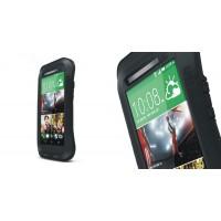 Антиударный пылевлагозащищенный гибридный эргономичный премиум чехол силикон/металл/закаленное стекло для HTC One (M8) Черный