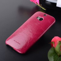 Кожаный вощеный чехол накладка Back Cover для HTC One (M8) Пурпурный