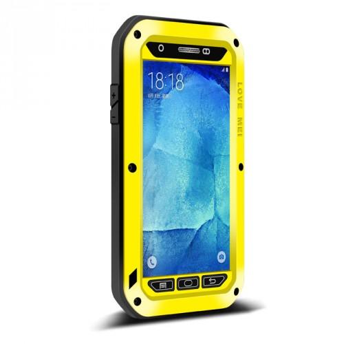 Антиударный пылевлагозащищенный гибридный премиум чехол силикон/металл/закаленное стекло для Samsung Galaxy A8