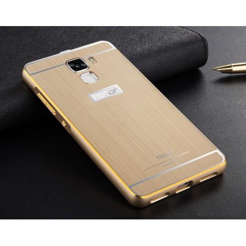 Двухкомпонентный чехол с металлическим бампером с золотой окантовкой и поликарбонатной накладкой для Huawei Honor 7