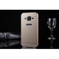 Двухкомпонентный чехол с металлическим бампером и поликарбонатной накладкой для Samsung Galaxy Core Prime Бежевый