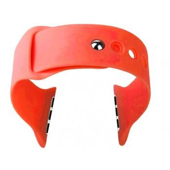 Цельный силиконовый гипоаллергенный нескользящий ремешок с интегрированным металлическим коннектором для Apple Watch 38мм