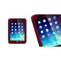 Антиударный пылевлагозащищенный гибридный премиум чехол силикон/металл/закаленное стекло для Ipad Air Красный