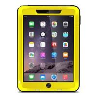 Антиударный пылевлагозащищенный гибридный премиум чехол силикон/металл/закаленное стекло для Ipad Air 2 Желтый