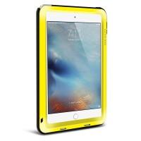 Антиударный пылевлагозащищенный гибридный премиум чехол силикон/металл/закаленное стекло для Ipad Mini 4 Желтый