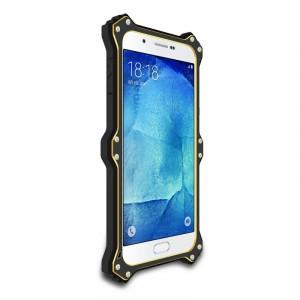 Антиударный пылевлагозащищенный гибридный премиум чехол силикон/металл/закаленное стекло со съёмной крышкой с окном вызова и свайпом для Samsung Galaxy A8